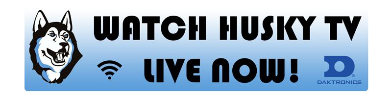 Husky Head with words Watch Husky TV Live Now!